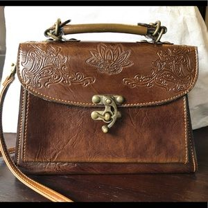 Vintage brown leather cross body top handle bag